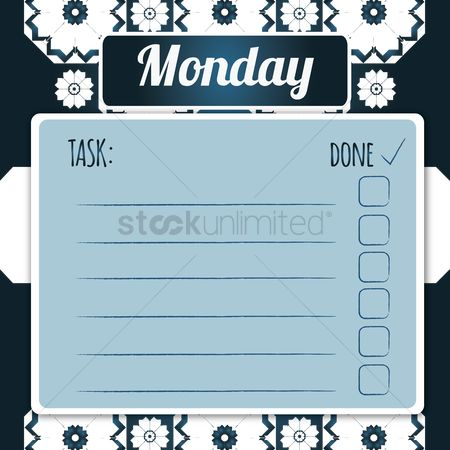 Monday : Blank daily checklist template