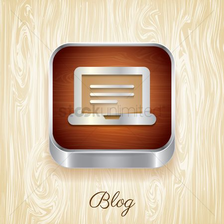 Wooden sign : Blog button