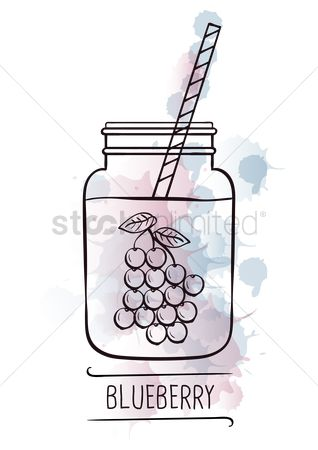 Straw : Blueberry smoothie