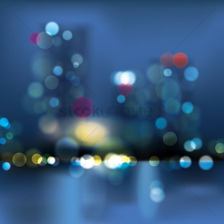 Skyscraper : Bokeh city background