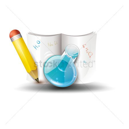 Formulas : Book with pencil and chemical flask