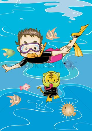 Kids : Boy and cat scuba diving