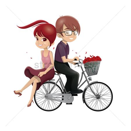 Bike : Boy and girl riding bicycle