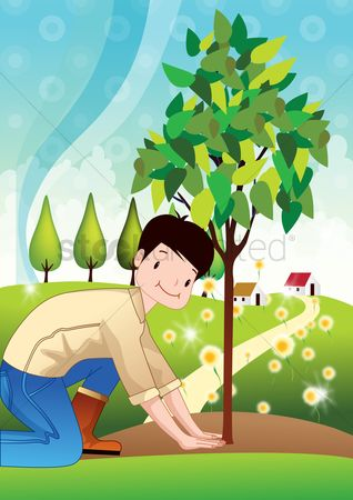 Flower pot : Boy planting trees