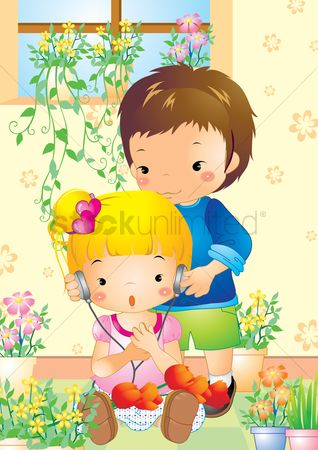 Flower pot : Boy putting earphones onto girl s ears