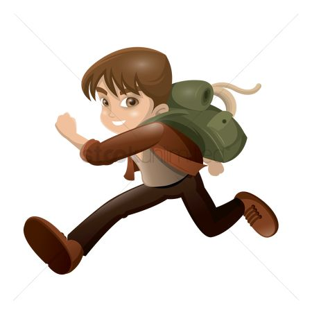 Backpacks : Boy running with backpack