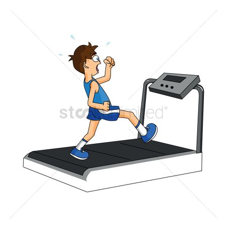 Indoor : Boy using tread mill