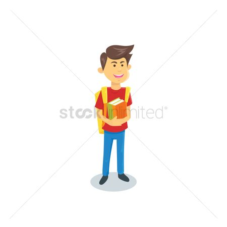 School bag : Boy with backpack and books