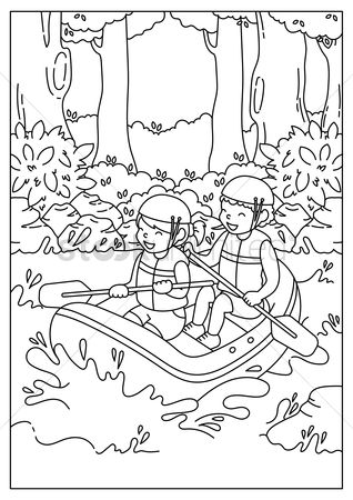 Cartoon : Boys water rafting