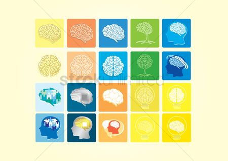 Jigsaw : Brain icons