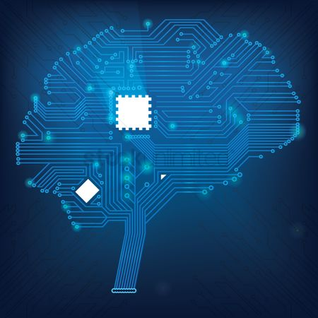 Chips : Brain with circuit board wallpaper