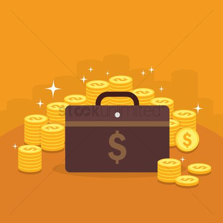 Stack : Briefcase and coins