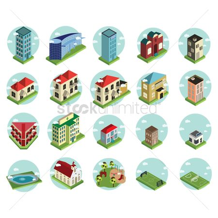 Hospital : Building icon set
