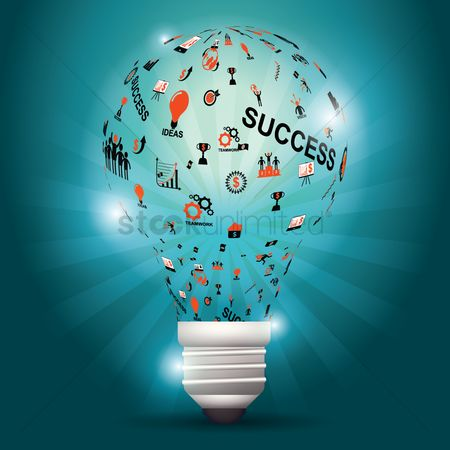 Success : Bulb with ideas
