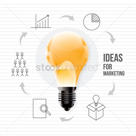 Graph : Bulb with marketing ideas