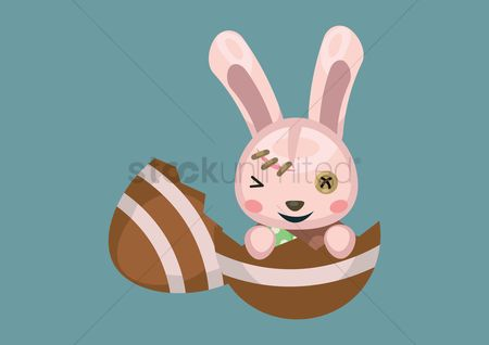 Hare : Bunny coming out of egg