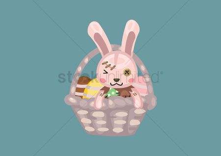 Hare : Bunny in a basket