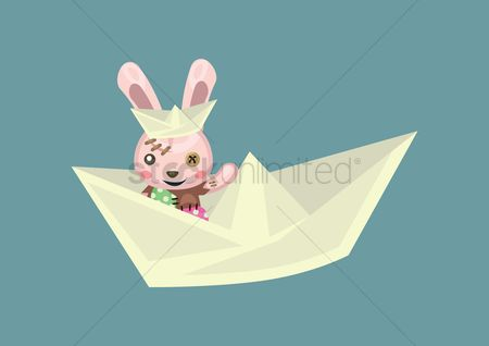 Hare : Bunny in a paper boat