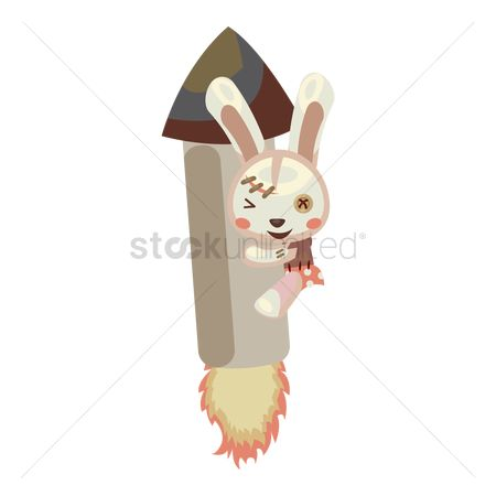 Hare : Bunny on toy rocket