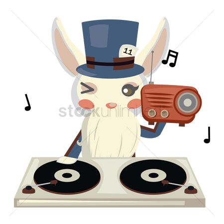 Hare : Bunny with beard operating music system