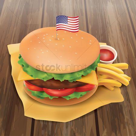 French fries : Burger with american flag