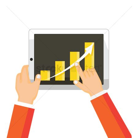 Profits : Business growth chart on tablet pc display