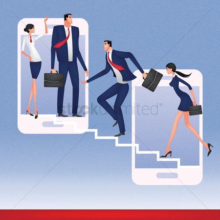 Guys : Business people climbing up the smartphones