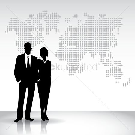 Executive : Business people silhouette against world map