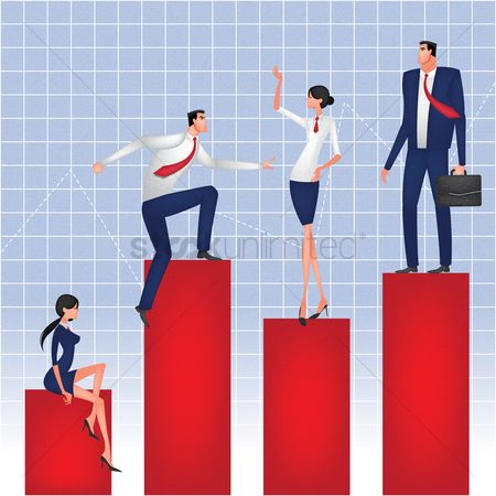 Work : Business people standing on bar graph