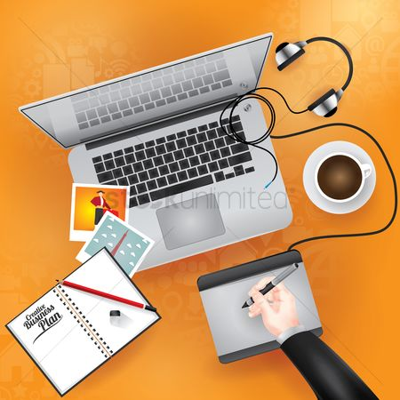 Coffee cups : Business work space concept