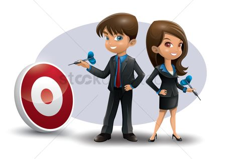 Profession : Businessman and businesswoman holding dart