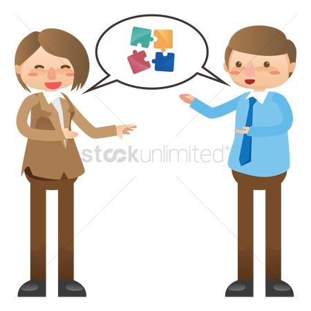 Jigsaw : Businessman and woman discussing teamwork concept