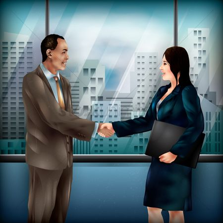 Work : Businessman and woman shaking hands