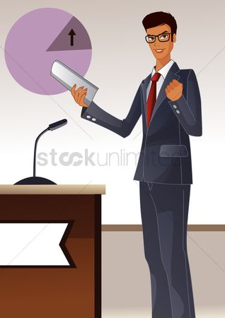 Lecture : Businessman giving presentation