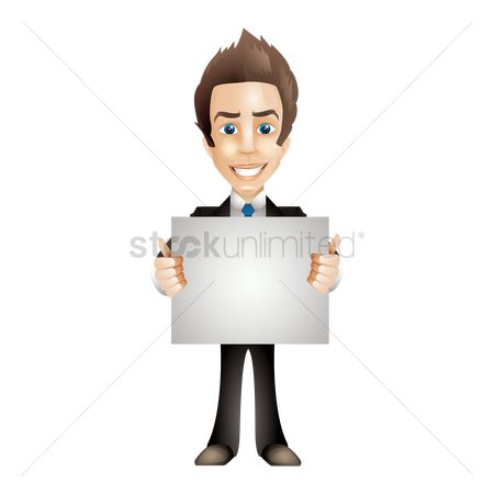 Businesspeople : Businessman holding blank paper board