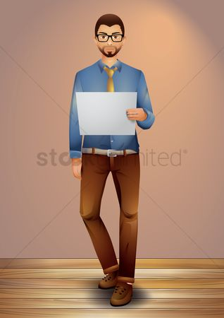 Uniforms : Businessman holding blank paper