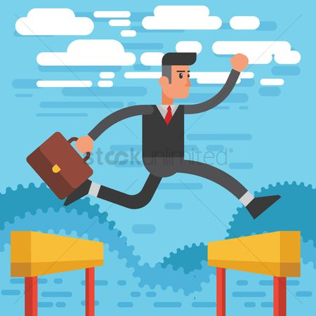 Barrier : Businessman jumping over hurdles