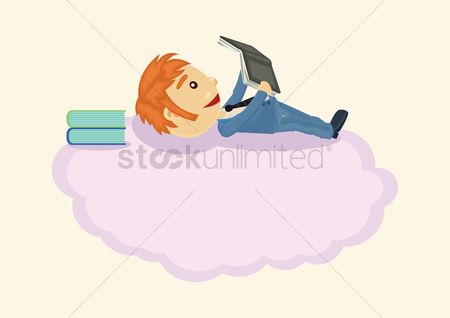 Laying : Businessman lying on cloud and reading book