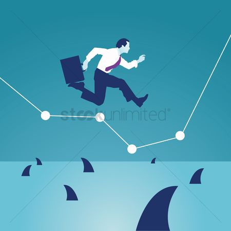 Profits : Businessman reaching business goals concept