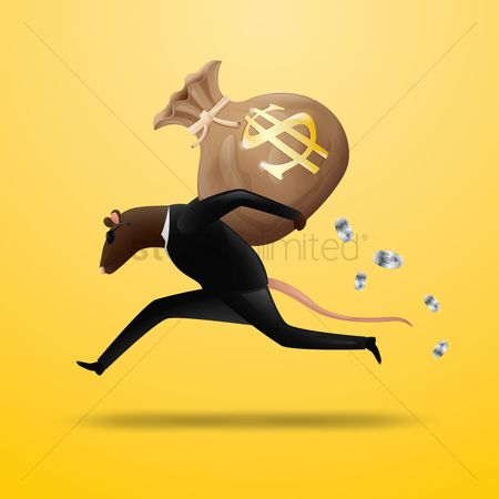 Success : Businessman running with a money bag