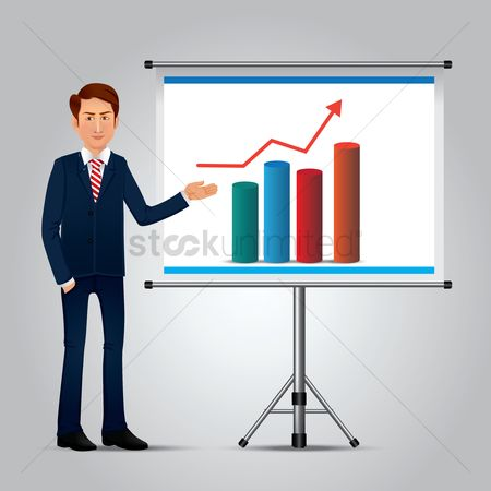 Whiteboard : Businessman showing chart