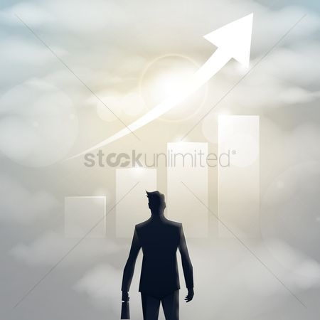 Backview : Businessman silhouette with business growth chart