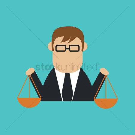 Brass : Businessman with balance scale
