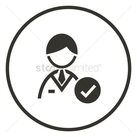 Check mark : Businessman with check mark icon