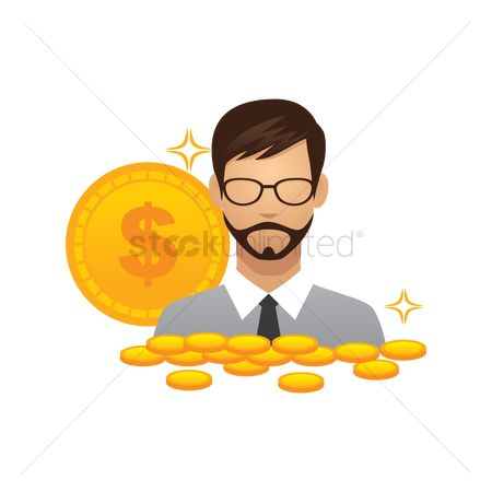 Currencies : Businessman with coins