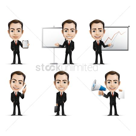 Character : Businessman with various activities