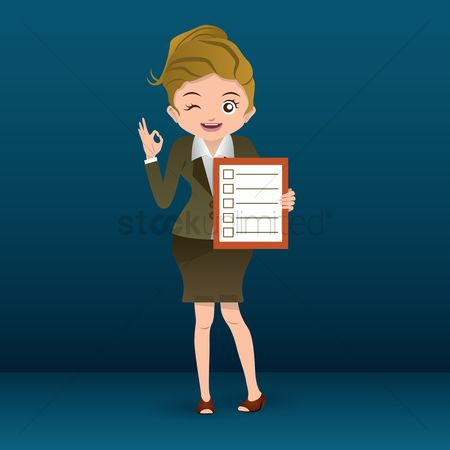 Checklists : Businesswoman holding business list