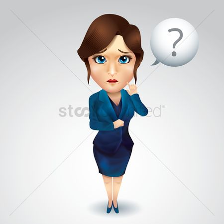 Contemplate : Businesswoman with question mark