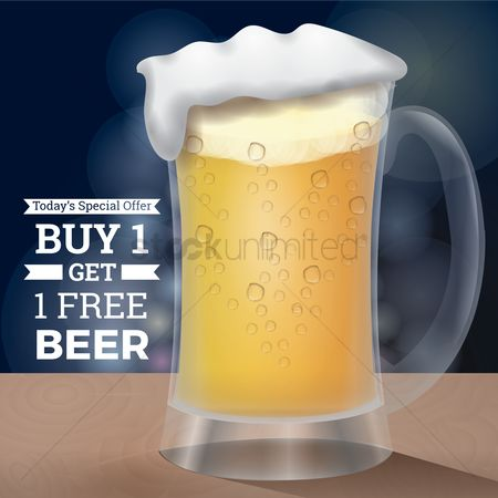 Liquor : Buy one get one free beer design