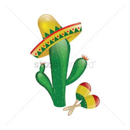 Mexicans : Cactus with sombrero and maracas
